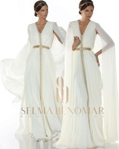 White color to me is like an escape from all the surrounding noises … The quieter you become the more you can hear … Morrocan Dress, Kaftan Moroccan, Moroccan Bride, Oriental Dress, Oriental Fashion, Arab Fashion, African Fashion, Arabic Dress, Caftan Dress