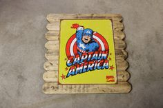 Large Captain America Metal Poster Framed in Distressed Pinewood by ArtMaxAntiques on Etsy