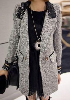 Marble Lace Collar Coat- Elegant Marble Lace Collar Coat