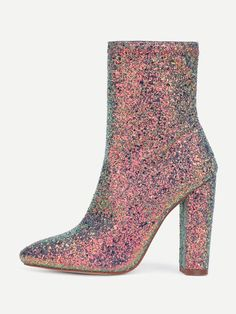 Sequin Overlay Pointed Toe Ankle Boots High Heel Boots 7ea0ed45651e
