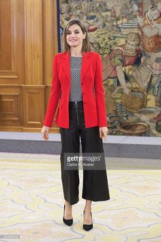 Queen Letizia of Spain attends several audiences at Zarzuela Palace on April 13, 2016 in Madrid, Spain.  (Photo by Carlos R. Alvarez/WireImage)