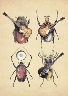 Meet The Beetles. Illustration by Eric Fan Hobbies For Couples, Rockn Roll, Canvas Prints, Art Prints, The Guardian, Beautiful Creatures, Vintage Art, Art Reference, Beetles