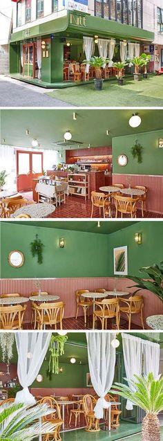 Restaurant and Bars Architecture Restaurant, Restaurant Interior Design, Cafe Interior, Interior Exterior, Interior Architecture, Cafe Design, Store Design, House Design, Commercial Design