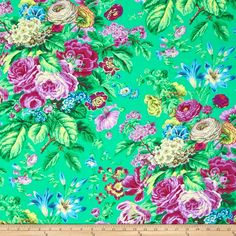 Kaffe Fassett Floral Delight Green from @fabricdotcom  Designed by Philip Jacobs for Rowan West Minister Fibers, this cotton print fabric is perfect for quilting, apparel and home decor accents. Colors include shades of green, purple, blue and pink.