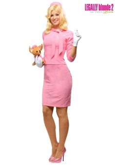 Become the beautiful and smart Elle Woods when you put on this exclusive Legally Blonde 2 Elle Woods Costume. This costume features her pink skirt suit and includes a stuffed animal chihuahua.