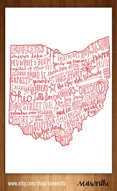 The Heart of Ohio by seaworthi on Etsy If only all the Buckeye stuff wasn't on it. Buckeyes Football, Ohio State Football, Ohio State Buckeyes, Ohio Is For Lovers, The Buckeye State, Shape Crafts, Inspiration Wall, Columbus Ohio, Get To Know Me