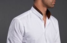 White Shirt Mandarin Collar Simili Leather, Waisted-fit - #frenchflair $86.90