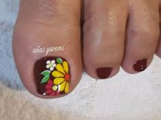 Uñas Toenail Art Designs, Flower Nail Designs, Pedicure Designs, Pedicure Nail Art, Colorful Nail Designs, Simple Nail Designs, Toe Nail Art, Acrylic Nails, Pretty Toe Nails
