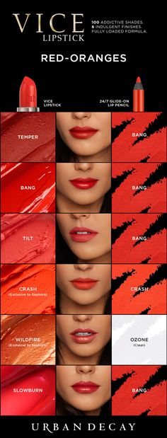 Urban Decay colour chart to help you choose the best orange-red shade for you - pair with a nude/brown eye or just winged liner & mascara to let your lips be the focal point of your make up look. Orange Lipstick, Lipstick Colors, Red Lipsticks, Lip Colors, Urban Decay Makeup, Urban Decay Vice Lipstick, Lipstick Swatches, Makeup Swatches, Skin Color Chart