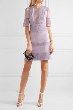 Lavendar crepe, chiffon and guipure lace Concealed hook and zip fastening at back Fabric1: 98% viscose, 2% elastane; fabric2: 100% nylon; lining: 100% silk  Dry clean Made in Italy