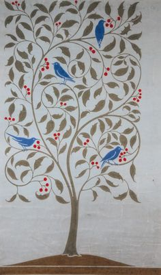 1890's Charles Francis Annesley Voysey (1857-1941) ~ Birds in a Holly Tree