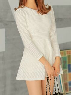 Women's Solid Color High-Waisted Long Sleeve Hollow Out Stripes Dress