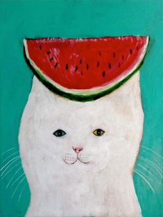 """Watermelon Cat"" by Japanese artist Pepe Shimada. I love Shimadas art which is mostly animal paintings, My special passion his his kitty artworks as the cats on them look so cute, different and fun I Love Cats, Crazy Cats, Cute Cats, Chat Web, Watermelon Cat, Art Et Illustration, Cat Illustrations, Photo Chat, You Draw"