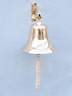Brass Titanic Bell from Wholesale Beach Decor Titanic, Decorative Bells, Nautical, Brass, Design, Navy Marine, Design Comics, Nautical Style, Nautical Theme
