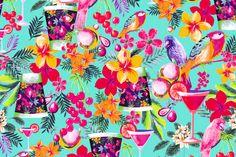 Dolce vita 16027 Un cocktail de cereza en el borde de la piscina, sintiendo el frescor del azul y llenándonos las pupilas de los brillantes rosas, verdes y lilas de las flores del entorno. Sólo se oyen de fondo el cotilleo de las cotorras y los loros...  Y si nos pasamos a un cosmopolitan? Descubre éste y el resto de nuestros estampados en lycra que diseñamos para ayudarte a crear tu colección de baño. https://www.facebook.com/SwimwearFabricsAnnaLlopDisseny?ref=hl
