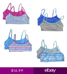 82ad9b7d930 Hanes Value Pack Girls Youth Crop Top Bralette Pullover Cotton Comfort Bra