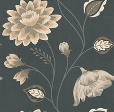 Albany Catwalk (97089) - Albany Wallpapers - A beautiful bold trailing floral design using metallic inks. Shown here with a black background, silver stems, brown leaves and soft beige and cream flowers. Other colour ways available. Please request a sample for true colour match.
