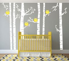 Yellow Owls and White Birch Tree Forest Wall Decal, Birch Tree Wall Vinyl Sticker for Nursery, Birch Forest Kids Wall Art,    This Wall Decal