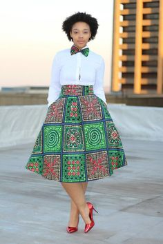 African print skirt with bow tie african by EssieAfricanPrint
