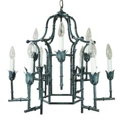 Vtg Hollywood Regency Faux Bamboo Green Painted Italian Tole Pagoda Chandelier | eBay