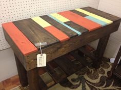 Sofa/ hall table made with pallets stained with Minwax Darl Walnut.