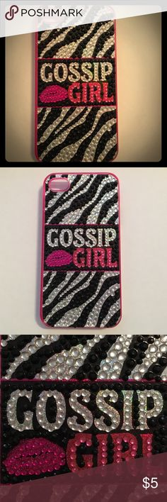 """iPhone 4s case This is a plastic pink phone case. The front is covered in rhinestones, with a zebra print design on the front, as well as spelling out """"Gossip Girl💋"""". Accessories Phone Cases"""