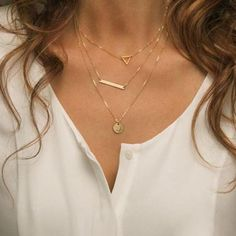 triangle pendant multi layer necklace gold chain necklace women summer jewelry layered statement long necklace 3270