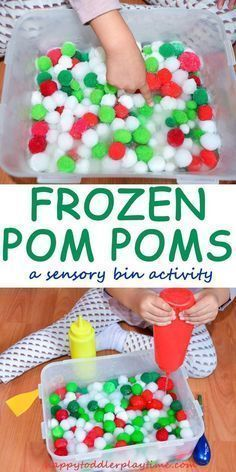 christmas activities Frozen Pom Poms - HAPPY TODDLER PLAYTIME A fun and easy sensory bin activity using frozen pom poms! Great fine motor skill activity for toddlers and preschoolers. Learn how to make it and how to keep your Pom Poms soft and fluffy! Baby Sensory, Sensory Play, Sensory Table, Toddler Sensory Bins, Sensory Boxes, Sensory For Babies, Motor Skills Activities, Infant Activities, Sensory Activities For Toddlers