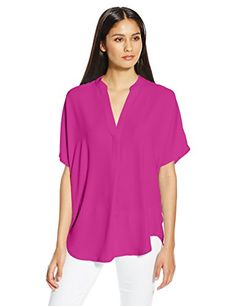 Anne Klein Women's Short Sleeve Mini Collar Blouse, Orchid, 2- #fashion #Apparel find more at lowpricebooks.co - #fashion