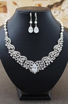 Statement Bridal Jewelry set from EarringsNation Bridal Statement Necklace Cubic Zirconia and Pearls Earrings Classic Weddings