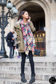 Model Off Duty Malaika Firth, After The Stella McCartney Fashion Show: Army Parka, Tartan Scarf And Black Skinny Jeans