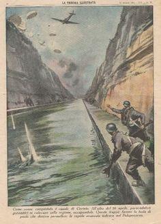 German fallschirmjäger and the last bridge over Corinth Canal, Greece, Saturday 26 April 1941 - pin by Paolo Marzioli Paratrooper, Luftwaffe, Corinth Canal, Operation Barbarossa, War Machine, World War Two, Wwii, Greece, Crete
