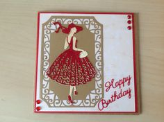 """Tattered Lace """"Lauren out for a stroll' die and Tonic frame Birthday Cards For Women, Birthday Greeting Cards, Greeting Cards Handmade, Art Deco Borders, Art Deco Cards, Tattered Lace Cards, Dress Card, Spellbinders Cards, Step Cards"""