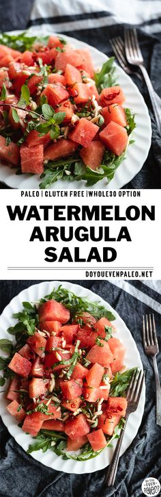 Watermelon Arugula Salad with Chili Honey Lime Dressing - This simple paleo salad is a great pick for summer! With watermelon, arugula, basil, mint, almonds, and a 4 ingredient dressing, the salad comes together quickly. Sweet watermelon is the perfect balance for peppery arugula! Fresh herbs add a nice dimension and almonds add a wonderful crunch. #paleo #paleorecipes #glutenfree #watermelon | DoYouEvenPaleo.net