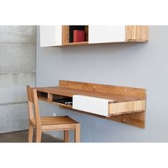 Buy LAX Wall Mounted Desk from MASH Studios. Perfect for small spaces, the LAXseries Wall Mounted Desk attaches to the wall and makes legs seem like po. Wall Mounted Table, Wall Mounted Shelves, Wall Tables, Tv Shelf, Home Office Design, House Design, Desks For Small Spaces, Small Workspace, Small Rooms