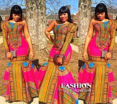 Pink Dashiki Maxi Dress ~African fashion, Ankara, kitenge, African women dresses, African prints, Braids, Nigerian wedding, Ghanaian fashion, African wedding ~DKK