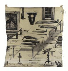 """Bill Hammond, """"Buller's Table Cloth"""", Acrylic on canvas, 1682 x Collection of Auckland Art Gallery Toi o Tamaki. Auckland Art Gallery, Nz Art, Black And White Drawing, Print Ideas, Summer Art, Light In The Dark, Surrealism, New Zealand, Cool Art"""