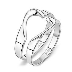 (2 pcs)Fashion Unisex Silver Alloy Couple Rings – USD $ 5.99