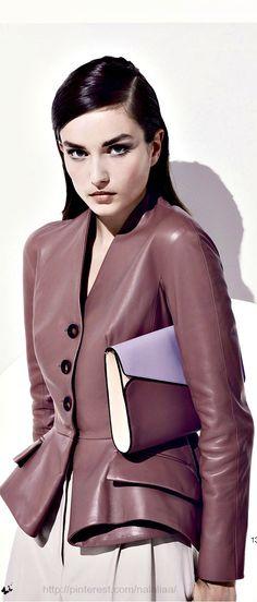 Rose Brown Leather Peplum Christian Dior Jacket
