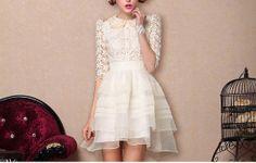 wedding dress , prom dress , cocktail dress , little lace white dress on Etsy, $141.72