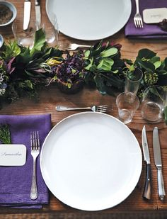 simple dinner party setting.