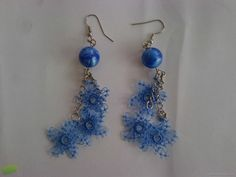 blue elegant needle lace earrings - My Recommendations Flower Patterns, Flower Designs, Lace Earrings, Drop Earrings, Thyme Flower, Needle Lace, Different Flowers, Lace Making, Lace Flowers