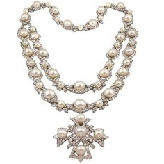 VAN CLEEF & ARPELS Highly Important Diamond Pearl Sautoir ❤ liked on Polyvore featuring jewelry, necklaces, accessories, colar, crosses, white pearl necklace, pearl jewelry, cross necklace, van cleef arpels necklace and diamond necklace