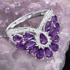 Amethyst Butterfly Wings Ring - New Age & Spiritual Gifts at Pyramid Collection