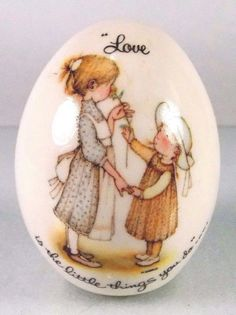 "Holly Hobbie #vintage #1970s 1970's #70s 70's #collectible #porcelain #Easter #egg with ""Love is the Little Things You Do"" saying from World Wide Arts, inc., with original gold shiny seal sticker on bottom and made in Japan, excellent vintage condition http://www.ebay.com/itm/VINTAGE-HOLLY-HOBBIE-PORCELAIN-EASTER-EGG-1970s-1970s-LOVE-LITTLE-THINGS-/142316144210?hash=item2122b40652"