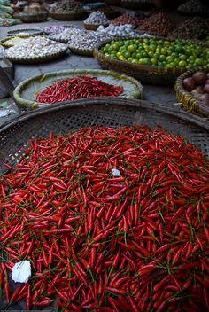 Chillies in a Hanoi market, Vietnam by Adam Cathro, via Flickr