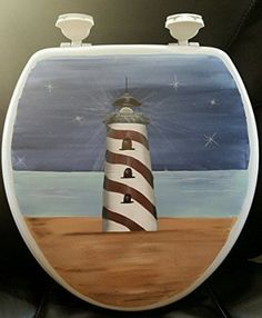 Lighthouse at Night Round Solid Wood Toilet SeatIt is easy to find the perfect gift for lighthouse lovers when you know they love lighthouse home décor and accents that make them think of lighthouses.  Lighthouses are nostalgic, historic and adorable which is a great reason to find inspiration by this type of sea side home décor.   Lighthouse home décor can be used in any room of the home and is the perfect theme to center your home decoration around.