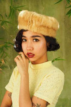 Vintage Hat, Vintage Womens Hat, Vintage Mink Hat, Vintage Mink Hat with Satin, Vintage Mink Fur Pillbox, Vintage 1950s Pillbox, Fur Hat by hisandhervintage on Etsy