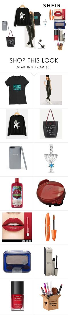 """""""Shein: unicorn print sweatshirt contest MLC"""" by naomig-dix ❤ liked on Polyvore featuring Bling Jewelry, Old Spice and COVERGIRL"""