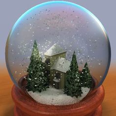 model: The 3D most typical snow globe with a cute little house inside